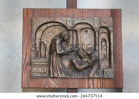 "VERONA, ITALY - MARCH 19: Part 4/10 of the sculptures of Romeo and Juliet by Sergio Pasetto in Tomb of Juliet on March 19, 2015 in Verona. It is called ""The marriage"". - stock photo"