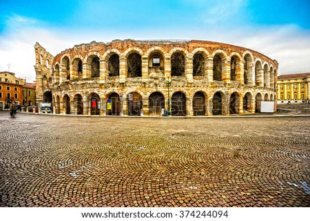 Verona, Italy. Night pcture of the famous Arena - stock photo