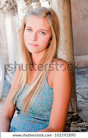 Verona, Italy - portrait of young girl in historic Verona - stock photo