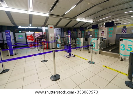 VERONA, ITALY - SEPTEMBER 11, 2014: Verona airport interior. Verona Villafranca Airport or simply Villafranca Airport, is an airport located around 5.0 km southwest of Verona, Italy