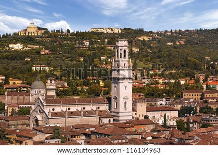 Verona Italy - The Cathedral and Hills / Overview of Verona Italy with the Cathedral and the green hill