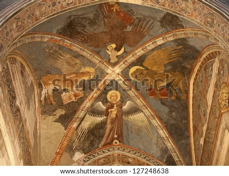 VERONA - JANUARY 28: Fresco of Four Evangelists in sanctuary of church San Fermo Maggiore from 13. cent. on January 28, 2013 in Verona, Italy.
