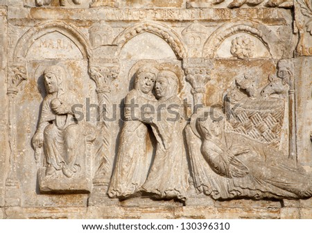 VERONA - JANUARY 27: Relief of Nativity from facade of romanesque Basilica San Zeno. Reliefs is work of the sculptor Nicholaus and his workshop on January 27, 2013 in Verona, Italy.
