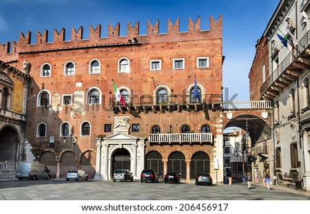 Verona. Piazza dei Signori is the civic and political heart of this ancient and medieval city of Italy.