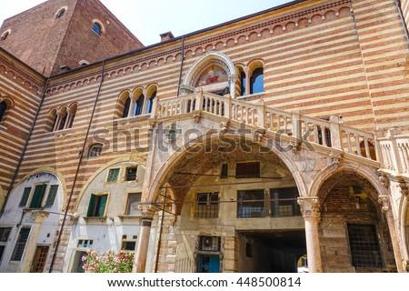 Verona sightseeing - Palazzo del Mercato Vecchio in Verona Italy - stock photo