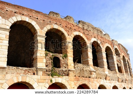 Verona (Veneto, Italy), Arches of Arena, Roman theatre, closeup. - stock photo