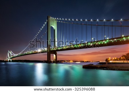Verrazano-Narrows Bridge at dusk viewed from Brooklyn, New York City - stock photo