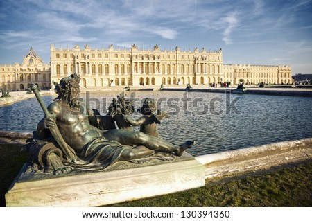 Versailles castle near Paris, France. It was the royal residence since Louis the 14th, and until the French Revolution. - stock photo