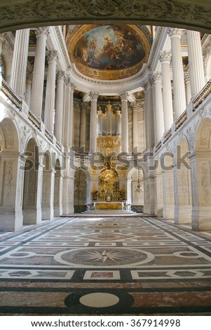VERSAILLES, FRANCE - August 27, 2014: Interior of Chateau de Versailles (Palace of Versailles) near Paris.