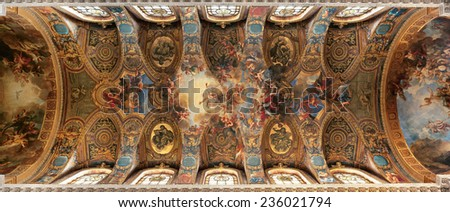 Versailles, France - 13 August 2014 : Panoramic view of the painted ceiling of the Royal Chapel at Versailles Palace ( Chateau de Versailles ). It was added to the UNESCO list of World Heritage Sites.