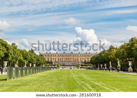 VERSAILLES, FRANCE - August 7, 2014: The Gardens of Versailles in a beautiful summer day in Paris, France on August 7, 2014, France.