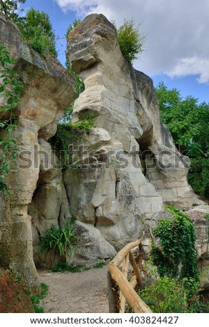 Versailles, France - august 19 2015 : the rock in the Marie Antoinette estate in the parc of Versailles Palace