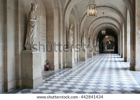VERSAILLES, FRANCE - JULY 30, 2013: Interior of main corridor at Chateau de Versailles (Palace of Versailles), June 30, 2013,  Paris, France. Every day many tourists wish to visit Versailles Palace,