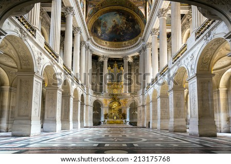 Versailles, France - JUN 20: Interior of royal chapel at Chateau de Versailles (Palace of Versailles) on June 20, 2014, France. Versailles palace is in UNESCO World Heritage Site list since 1979. - stock photo