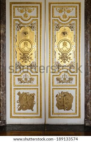VERSAILLES, FRANCE - JUNE 19, 2013: Interior of Chateau de Versailles (Palace of Versailles) near Paris on June 19, 2013, France. Versailles palace is in UNESCO World Heritage Site list since 1979. - stock photo