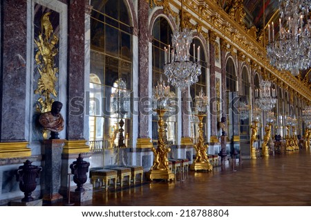 VERSAILLES, FRANCE - MAY 28, 2014: Empty hall of mirrors in the Palace of Versailles. The Versailles palace is in the UNESCO World Heritage Site list since 1979. Versailles, France - May 28, 2014  - stock photo