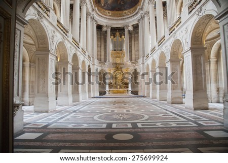 VERSAILLES, FRANCE - MAY 30, 2014: Interior of Chateau de Versailles (Palace of Versailles) near Paris on May 30, 2014, France. Versailles palace is in UNESCO World Heritage Site list since 1979.