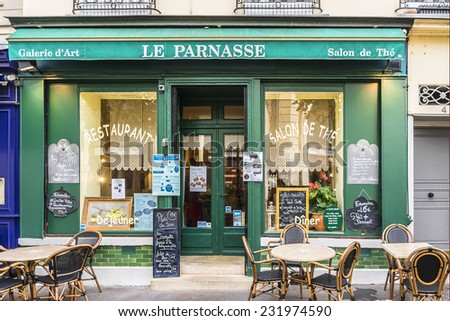 VERSAILLES, FRANCE - NOVEMBER 13, 2014: View of typical French, cozy, little restaurants and cafe near the famous Notre-Dame market. - stock photo