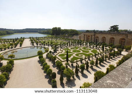 Versailles gardens in France - stock photo