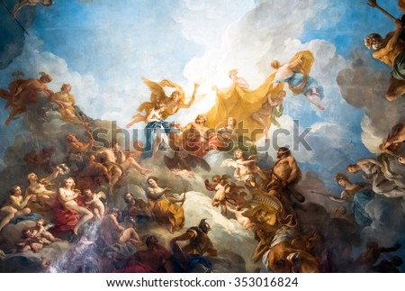 VERSAILLES PARIS, FRANCE - April 18 : Ceiling painting in Hercules room of the Royal Chateau Versailles on April 18, 2015 at the Palace of Versailles near Paris, France - stock photo
