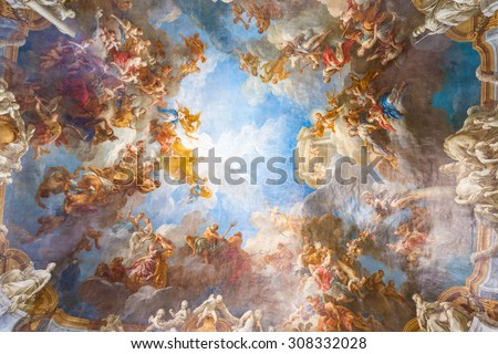 VERSAILLES PARIS, FRANCE - MAY 30: Ceiling painting in Hercules room of the Royal Chateau Versailles on May 30, 2015 at the Palace of Versailles near Paris, France - stock photo