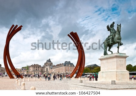 Versailles square with Louis 14 monument. Paris, France, Europe. - stock photo