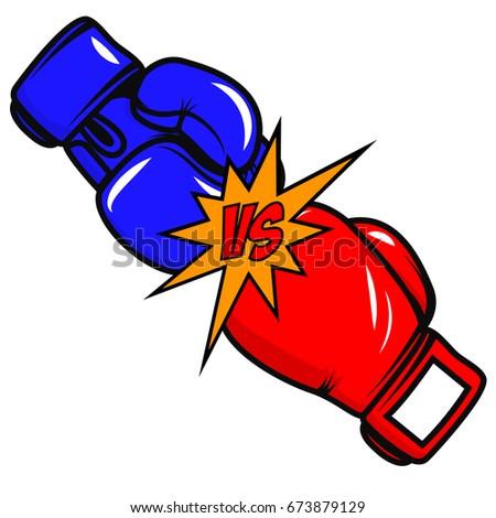 versus boxing gloves on white background stock illustration rh shutterstock com boxing gloves black and white clipart punching gloves clipart