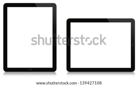 Vertical and horizontal tablet. Blank display isolated on white and reflection at the bottom. - stock photo