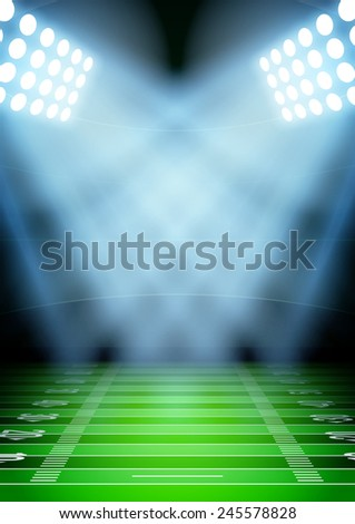 Vertical Background for posters night football stadium in the spotlight. - stock photo