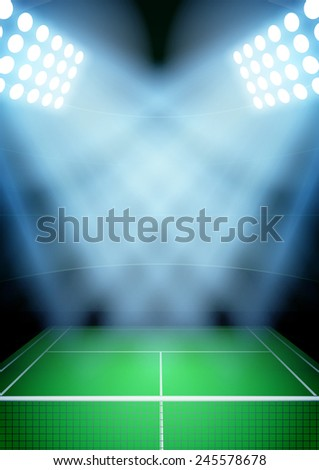 Vertical Background for posters night tennis stadium in the spotlight. - stock photo