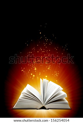 Vertical background of brown color with magic book - stock photo