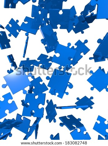 vertical background with blue falling jigsaw puzzles isolated - stock photo