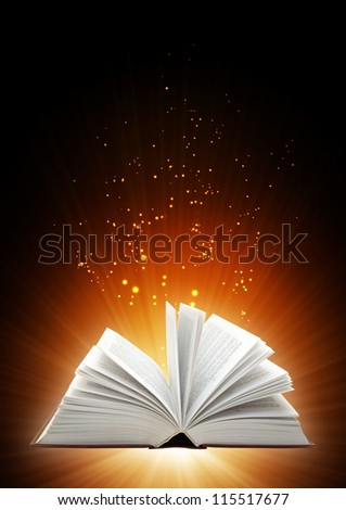 Vertical background with magic book