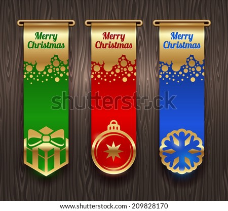 Vertical banners with Christmas greetings and signs - stock photo