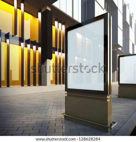 Vertical billboard in downtown. A 3d illustration blank template layout of modern citylight at the street. - stock photo