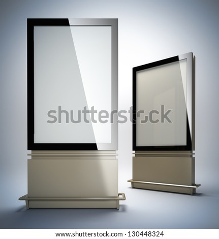 Vertical billboards. 3D illustration of blank template layout empty metal citylights with black frame. - stock photo