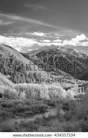 Vertical black and white Wasatch Mountain image, Utah, USA. - stock photo