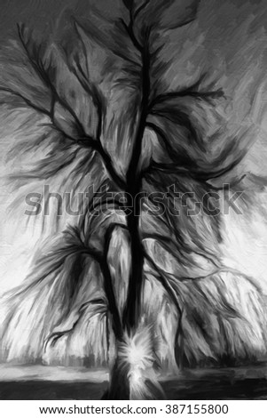 vertical black and white watercolor oil painted background, big tree silhouette over the sunset - stock photo