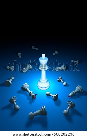 Vertical chess composition. Standing Out from the Crowd. Available in high-resolution and several sizes. 3D rendering illustration. Black background layout with free text space.