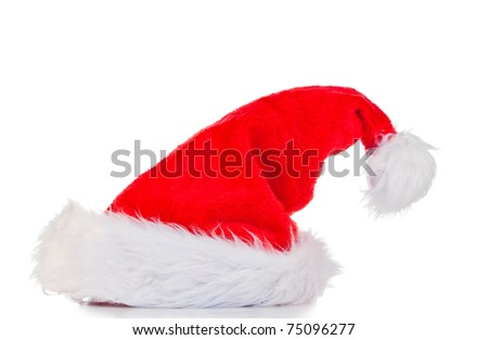 Vertical Christmas hat on a white background - stock photo