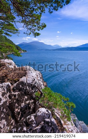 Vertical cliff view - stock photo