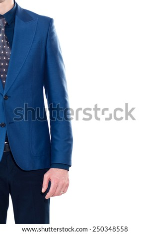 Vertical close-up of young businessman isolated on withe  - stock photo