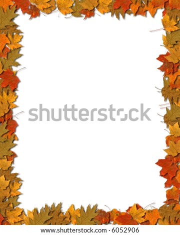 Vertical colorful leaf border against white background with space for copy. - stock photo