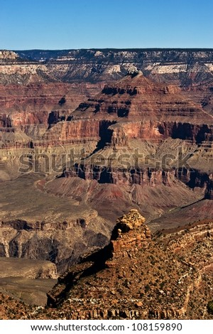 Vertical drop from the south rim of the grand canyon. - stock photo