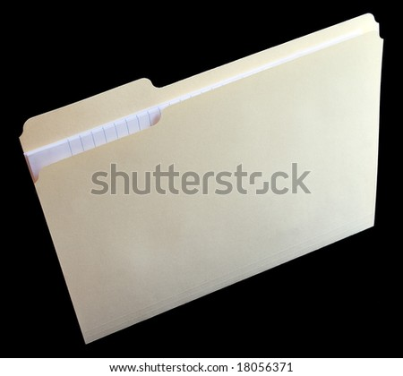 Vertical file folder with note paper - stock photo