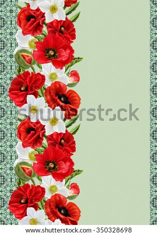 vertical floral border, pattern, seamless, floral background, Flowers red poppies, white anemones - stock photo