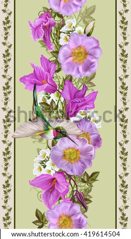 Vertical floral border. Pattern, seamless. Flower garland of pink roses and crimson cyclamen. Little bird hummingbirds. - stock photo