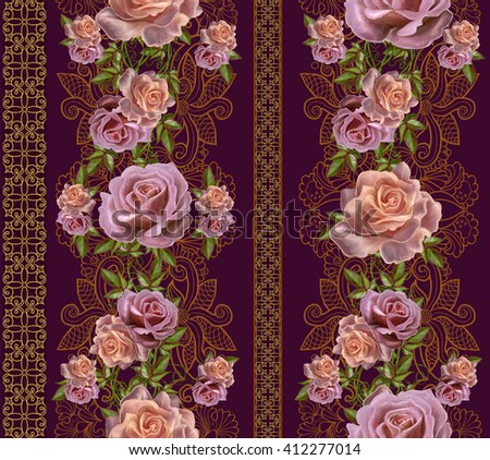 Vertical floral border. Pattern, seamless. Old style. Garland of pink and orange roses, gold border, gold mosaic.