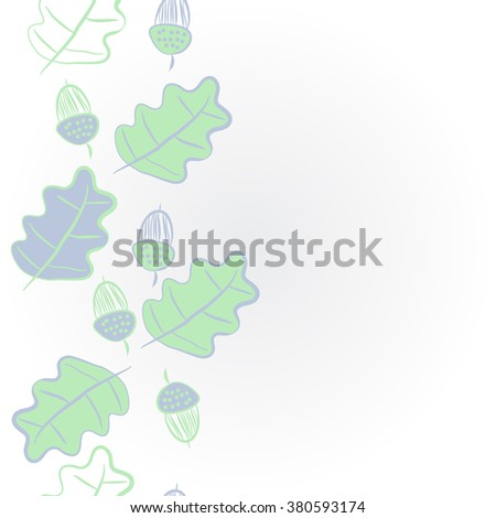 Vertical  floral motif, doodles,acorns, leaves of oak, seamless, copy space. Hand drawn.