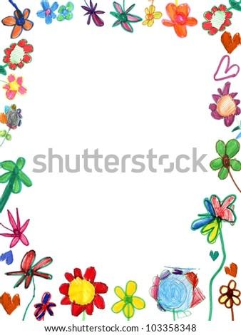 vertical flowers frame, child illustration isolated on white - stock photo